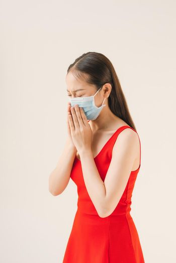 Woman Sickness Protective Mask Fever Concept