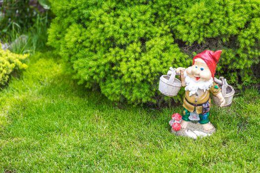 garden dwarf in home garden, gnome decoration