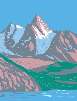Gran Paradiso National Park in Graian Alps Between Aosta Valley and Piedmont Regions Italy Art Deco WPA Poster Art