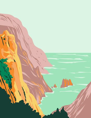 Calanques National Park or Parc National Des Calanques in Sugiton on Mediterranean Coast in Bouches-Du-Rhone France Art Deco WPA Poster Art