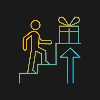Reward based motivation gradient vector icon for dark theme