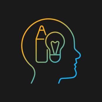 Creative motivation gradient vector icon for dark theme