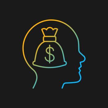 Money reward gradient vector icon for dark theme