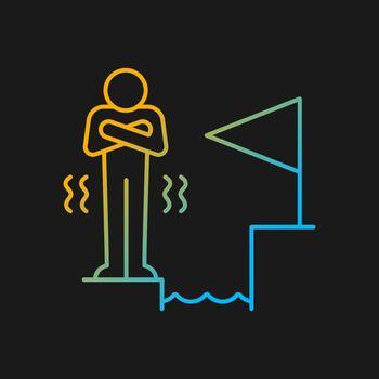 Fear of failure gradient vector icon for dark theme