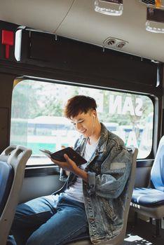 Transport. people in the bus. Writer journalism imagination novelist message concept