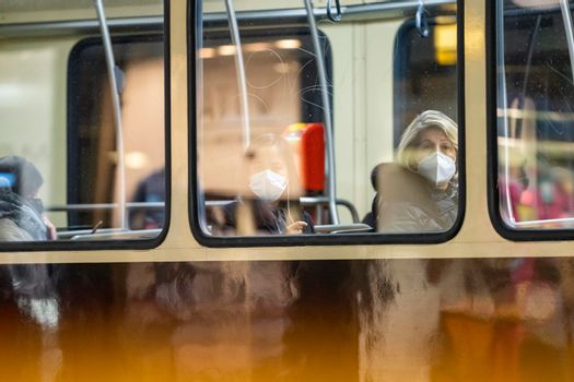 People with medical mask on the bus