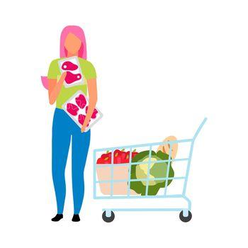 Girl choosing fresh meat at supermarket semi flat color vector character