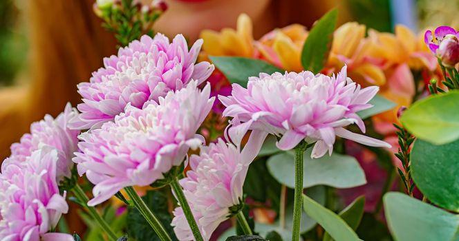 Turquoise flowers macro detail