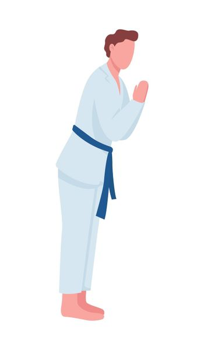 Man practicing judo in dojo semi flat color vector character