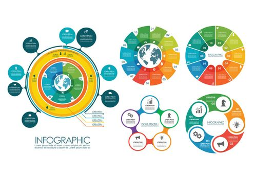 Circle infographic templates collection