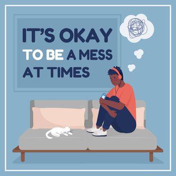 Teen anxiety social media post mockup