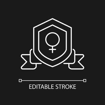 Feminist organization white linear icon for dark theme