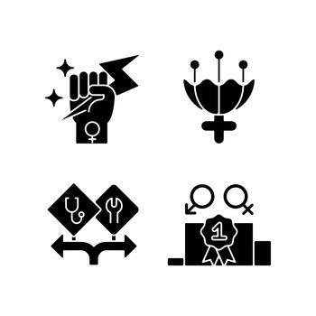 Women empowerment black glyph icons set on white space