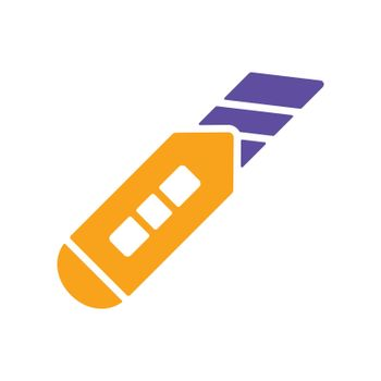 Construction utility knife vector flat glyph icon