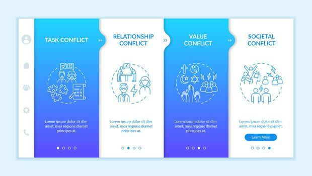 Types of conflict onboarding vector template