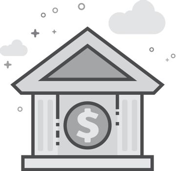 Flat Grayscale Icon - Bank building