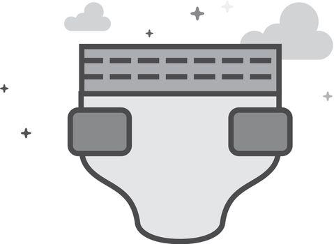 Flat Grayscale Icon - Diaper