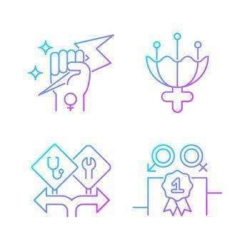 Women empowerment gradient linear vector icons set