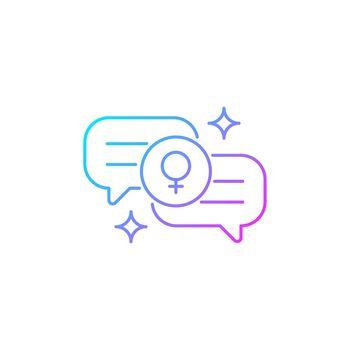 Female bonding gradient linear vector icon