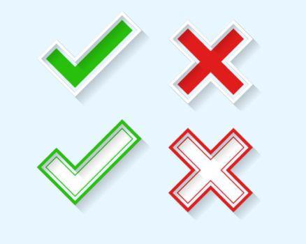 3d check mark and cross symbols set