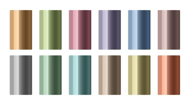 set of metallic gradients in different colors
