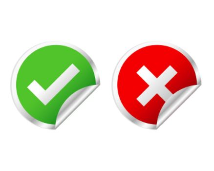 green check mark and red cross stickers
