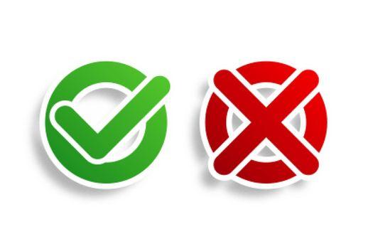 circular check mark and cross bullet point button