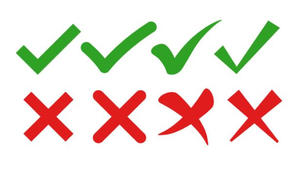 check mark and cross symbols in flat styles