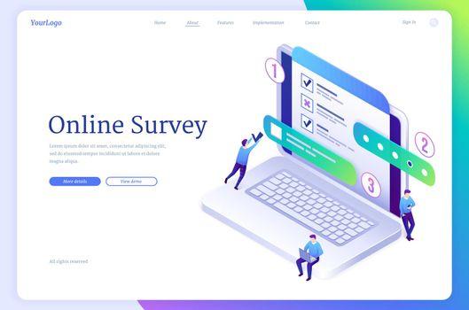 Online survey isometric landing, questionnaire