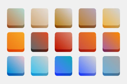 gradients set in warm and cool colors