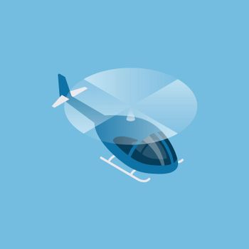 Flying helicopter isometric view