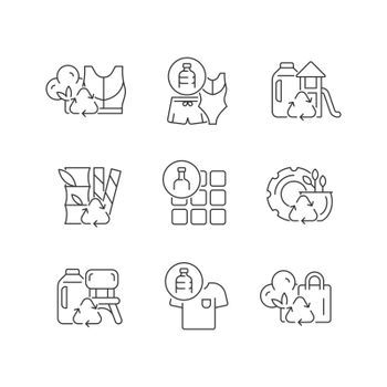 Natural resources conservation linear icons set