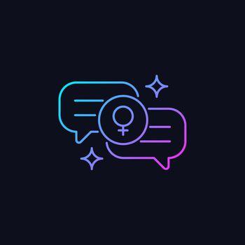 Female bonding gradient vector icon for dark theme