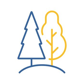 Deciduous and conifer forest vector flat icon
