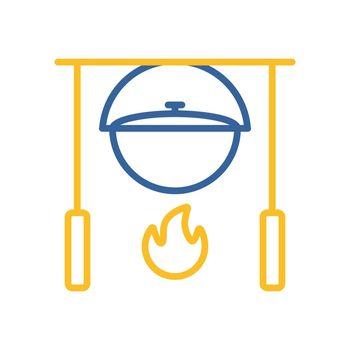 Camping pot over a bonfire vector icon