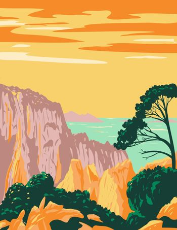 Calanques National Park or Parc National Des Calanques in Belvedere on Mediterranean Coast in Southern France Art Deco WPA Poster Art