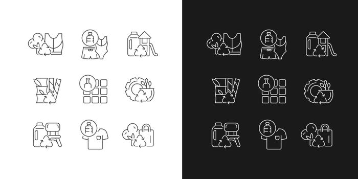 Natural resources conservation linear icons set for dark and light mode