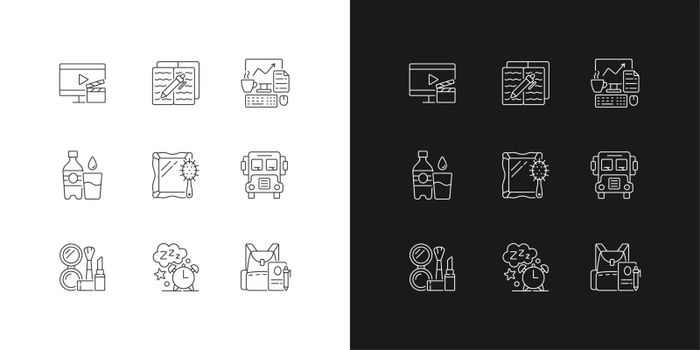 Everyday activities linear icons set for dark and light mode