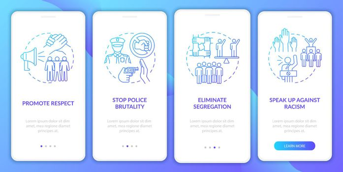 Anti-racism commitment onboarding mobile app page screen