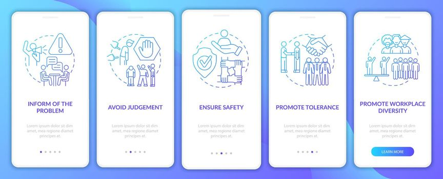 Workplace discrimination onboarding mobile app page screen