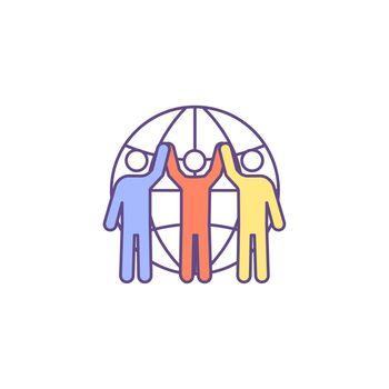 Racial unity RGB color icon
