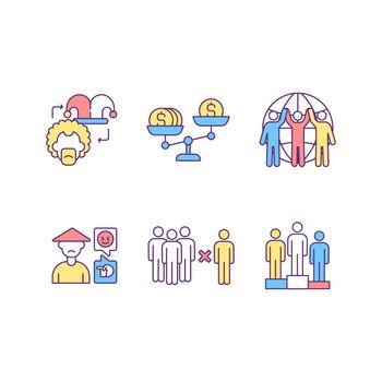 Racial discrimination RGB color icons set
