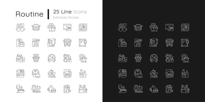 Everyday routine linear icons set for dark and light mode