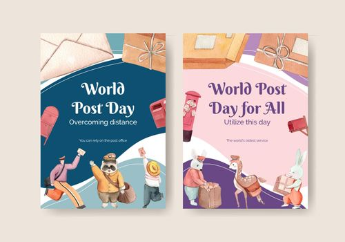 Postcard template with world post day concept,watercolor style