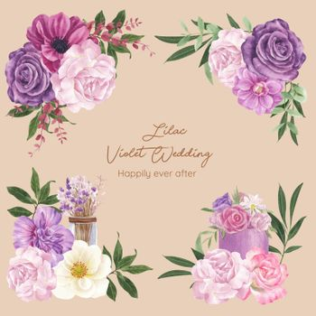 Bouquet with lilac violet wedding concept,watercolor style