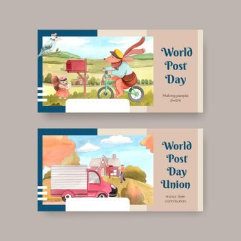 Twitter template with world post day concept,watercolor style