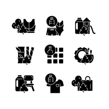 Natural resources conservation black glyph icons set on white space
