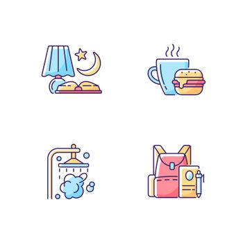 Everyday schedule and routine RGB color icons set