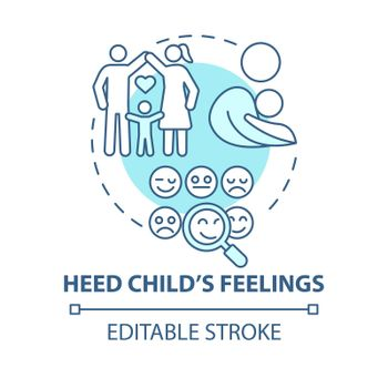Heed child feelings blue concept icon