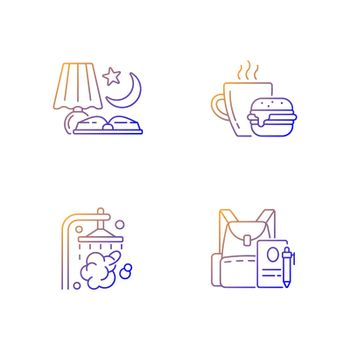 Everyday schedule and routine gradient linear vector icons set